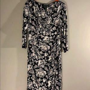 Ralph Lauren black and white floral sheath dress